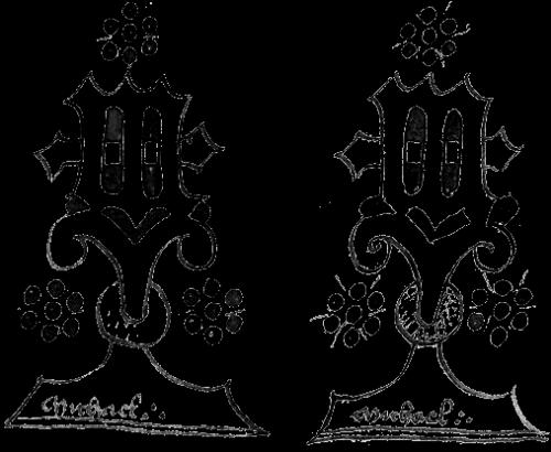 Abb. 1: Notariatssignet von Michael Lapicide de Tyrnstain, links aus dem Jahr 1420, rechts von 1430. Vergrößerung von AMB 929 und AMB 1163. © Juraj Šedivý