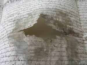 Damage of the parchment